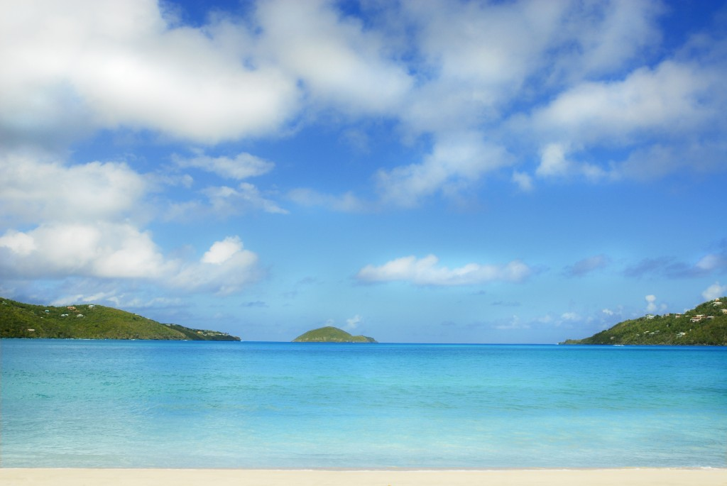 Beautiful blue skies over the blue green waters of Magens Bay, St. Thomas, USVI