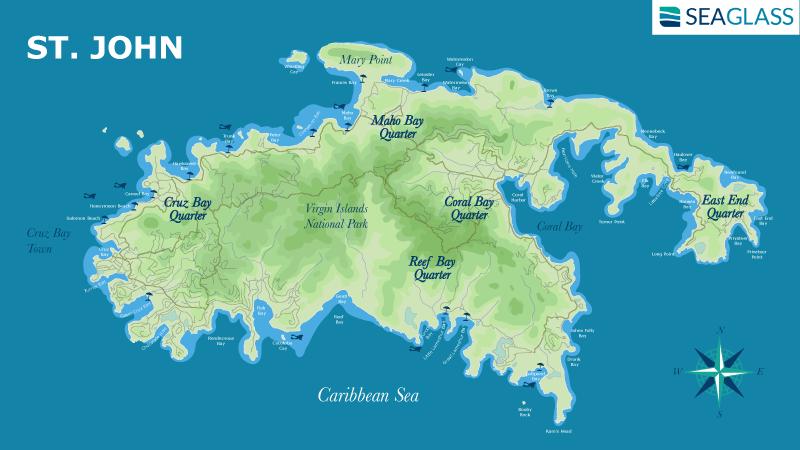 St John Map Featuring Cruz Bay, Coral Bay, Reef Bay, Maho Bay, and East End Quarter