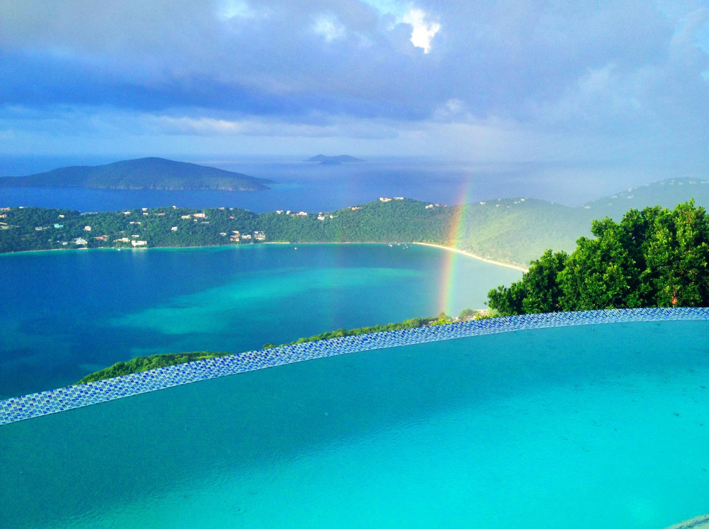 View of Rainbow over Caribbean Sea from Rental Property in ST THomas